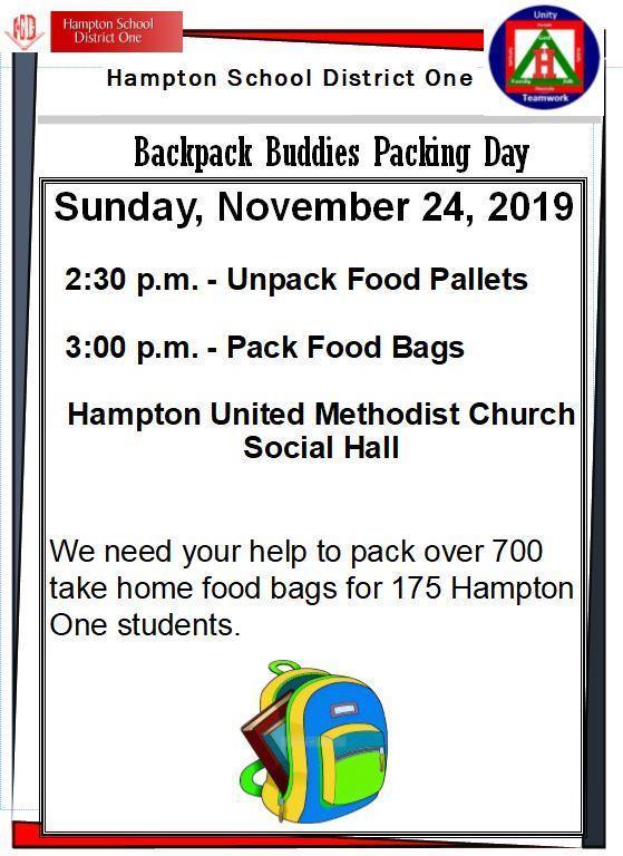 Backpack Buddies Food Packing - November 24, 2019