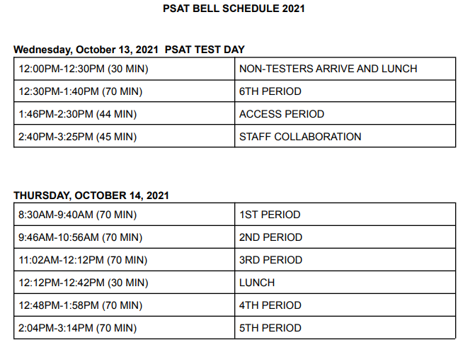 PSAT Bell Schedule - Oct. 13 and 14 Featured Photo
