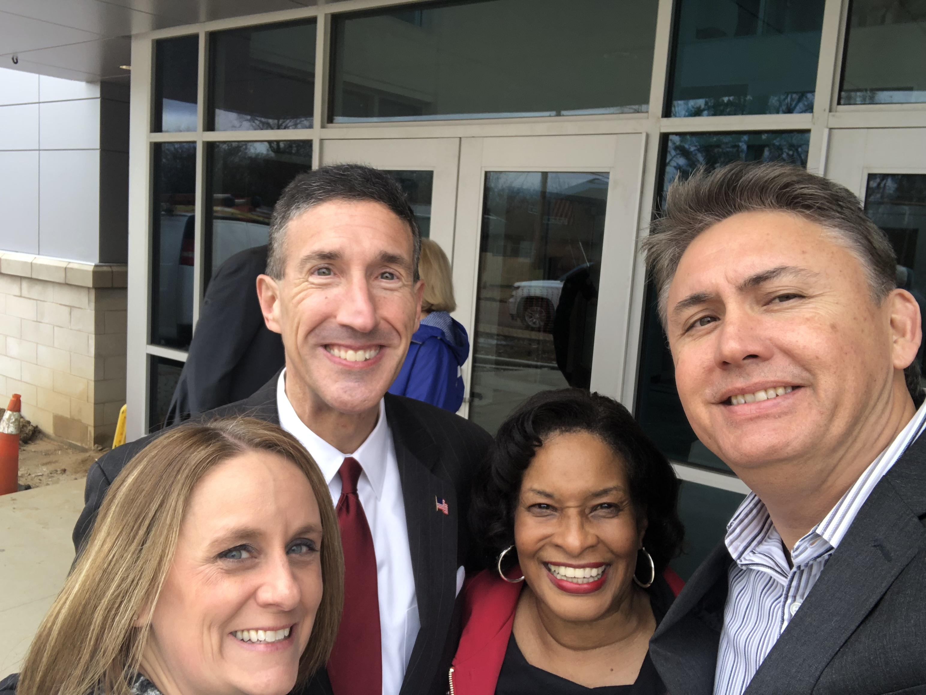 U.S. Congressman David Kustoff Principal Tim Jones and BCS School Board Members