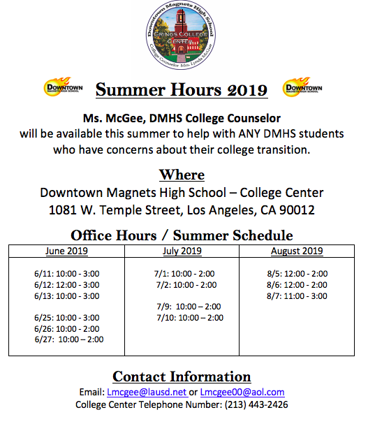 Need Counseling Help Over The Summer?  See Ms. McGee In The College Center! Featured Photo