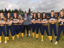 2017 slow pitch team photo. The girls have taken a serious approach to this picture. Eventually they went on to be 2017 State Champions.
