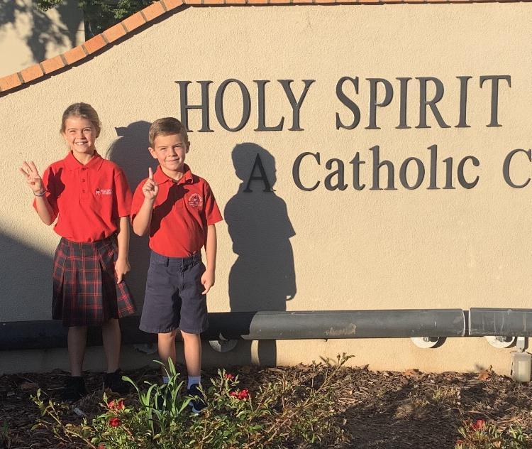 two children on HSS campus