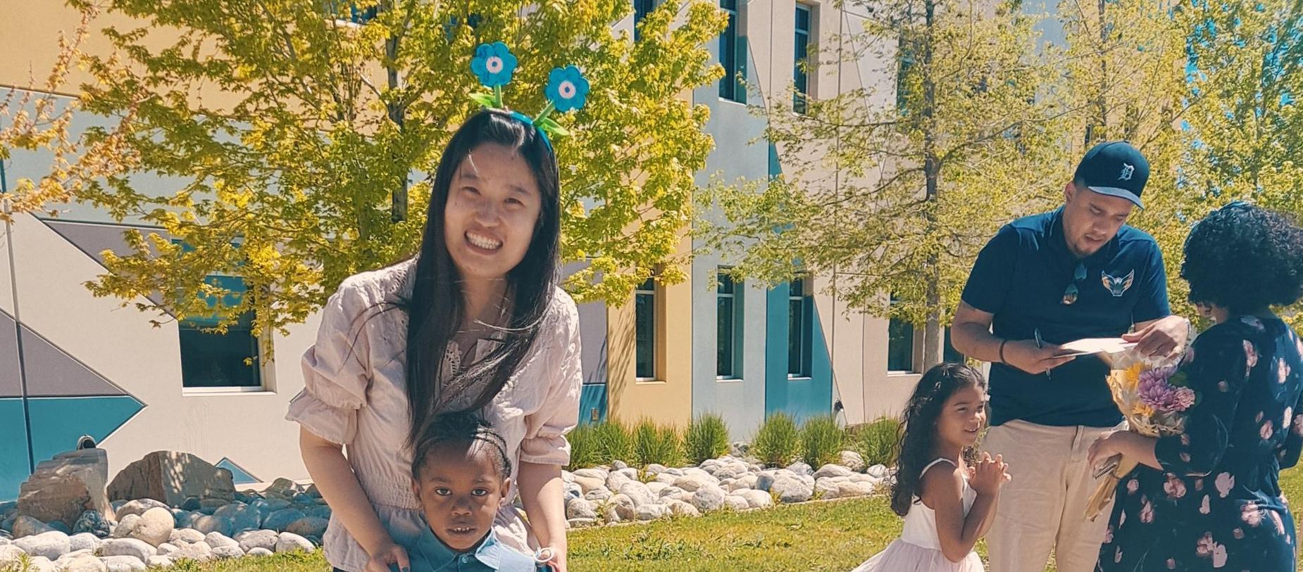 Mandarin Kindergarten Graduation. Student with Wang Laoshi