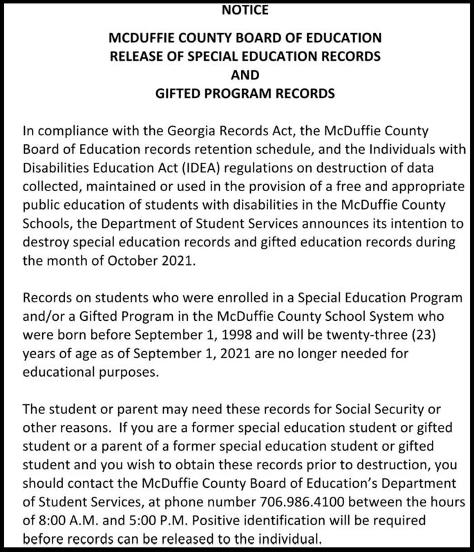 Release of Special Education & Gifted Program Records Featured Photo
