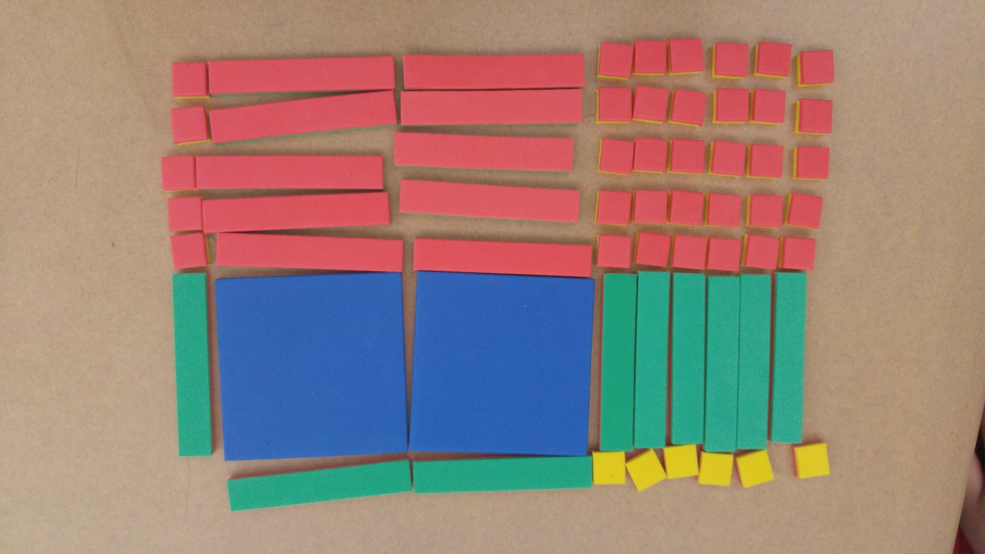 photo of algebra tiles modeling multiplication of two binomials