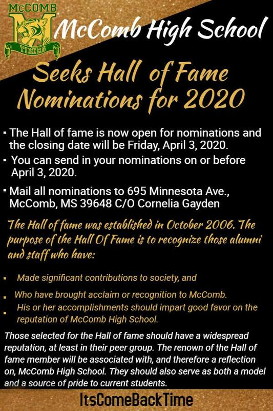 McComb High School seeks Hall of Fame Nominations 2020  #ItsComeBackTime