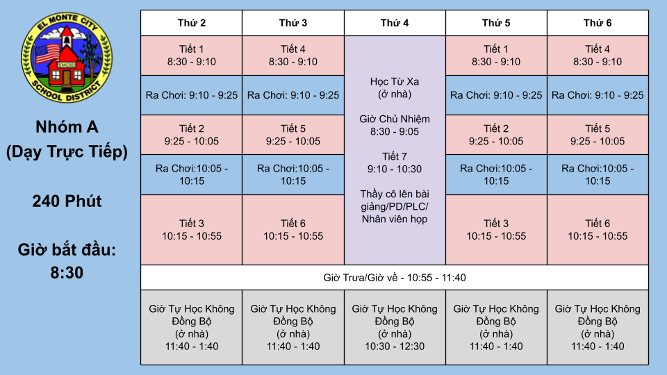 7th and 8th Grade Group A Schedule VIETNAMESE
