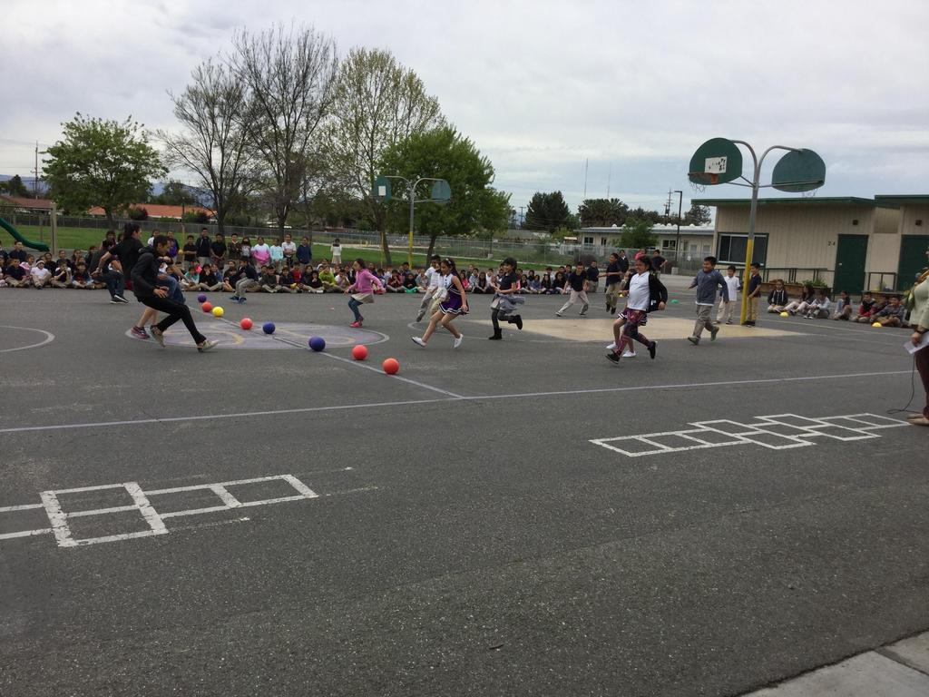 students vs. teachers in game of dodgeball