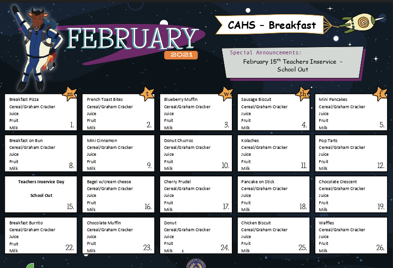 February Breakfast and Lunch Menus Featured Photo