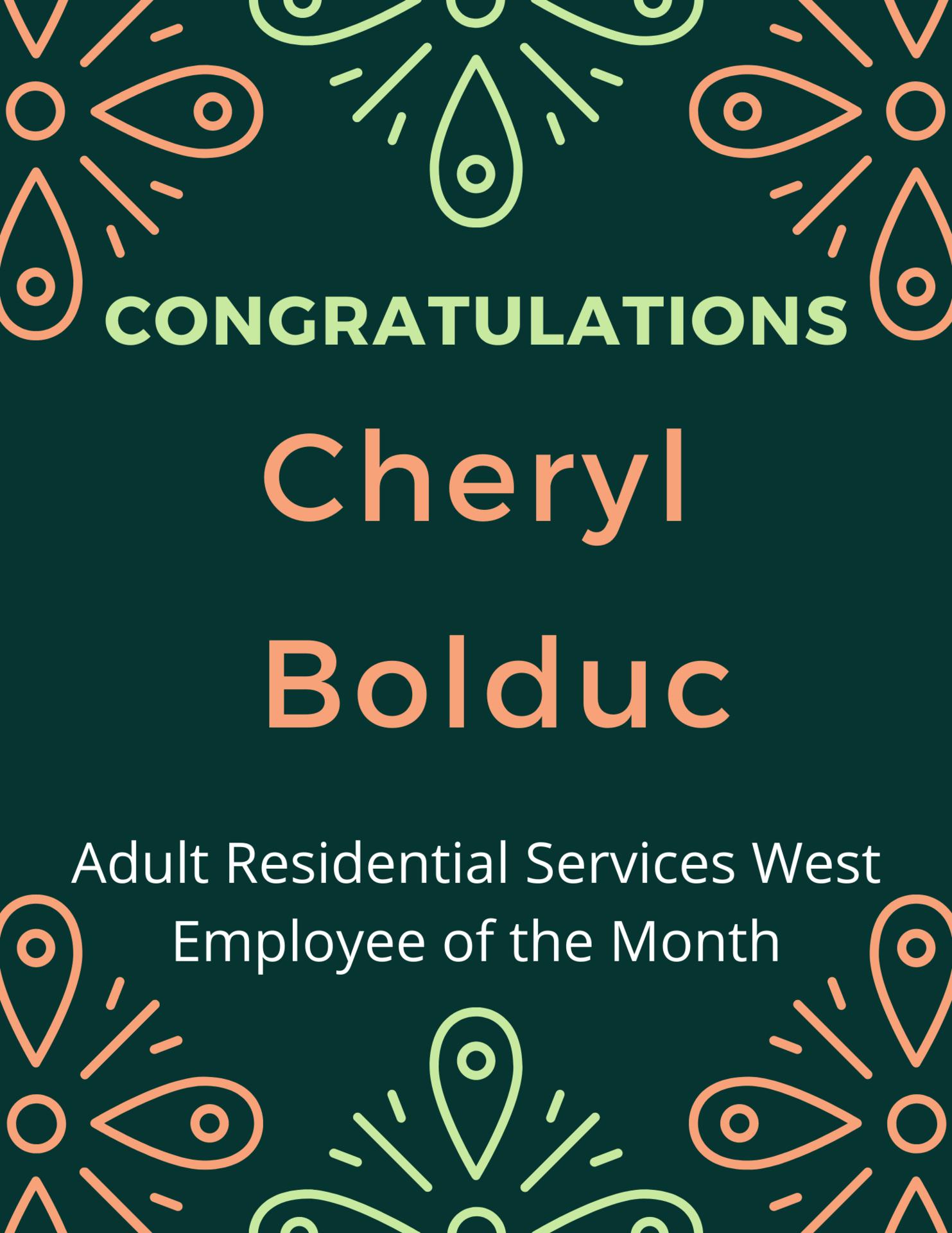 Cheryl B. Employee of the month