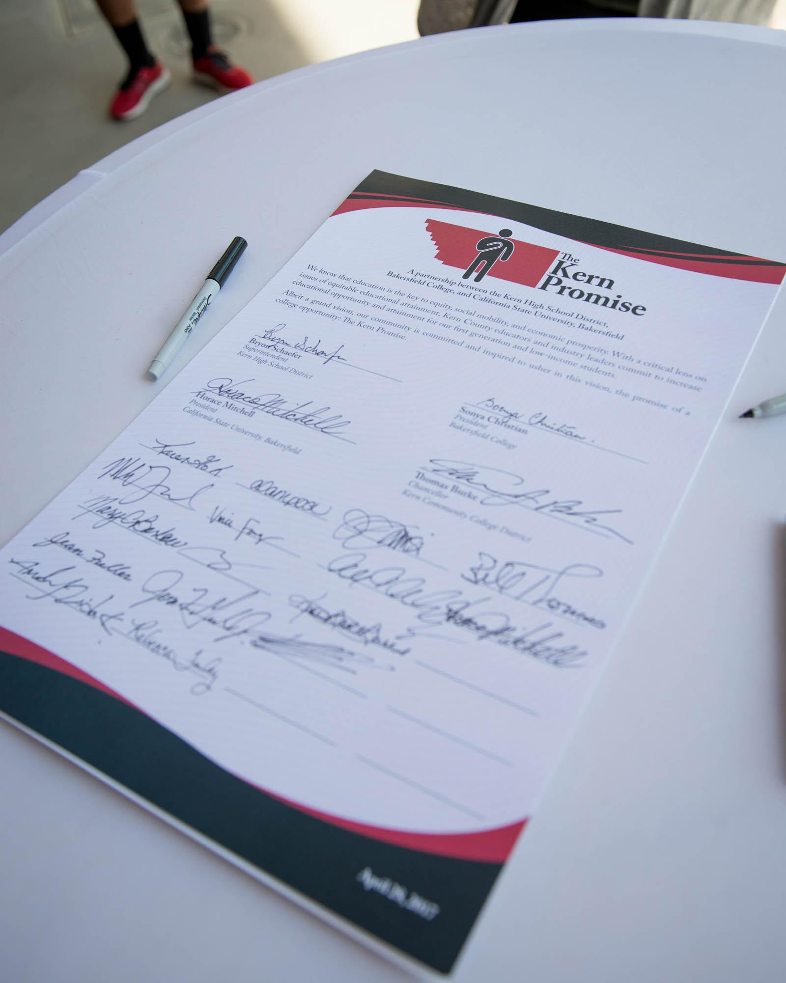 Picture of signed Kern Promise document