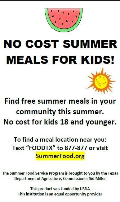no cost summer meal ad