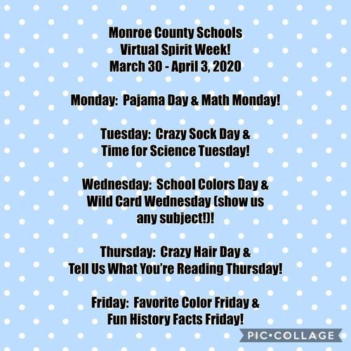 Monroe County Schools Virtual Spirit Week