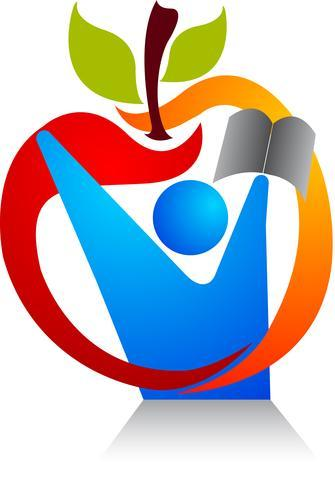 Apple icon with scholar holding book