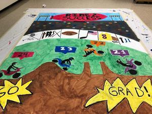 A banner that will welcome Xavier freshmen, built Aug. 12 at XLI.