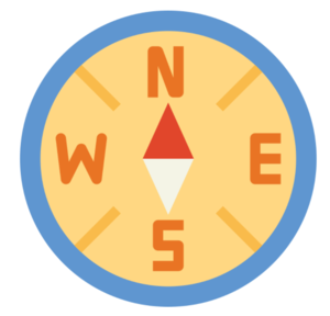 Orange, yellow, blue and red compass navigating North, South, East, and West.