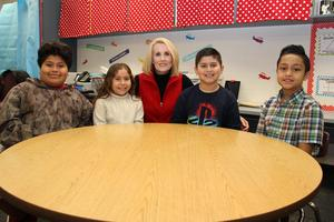 Pictured from left to right are B-L Elementary School students Alex Rodriguez, Sofia Moreno, Mrs. Stacey Westberry (teacher), Joshua Jimenez, and Jacob Discua. Mrs. Westberry was recently named as one of two recipients of the Innovate to Accelerate Language Learning grant.