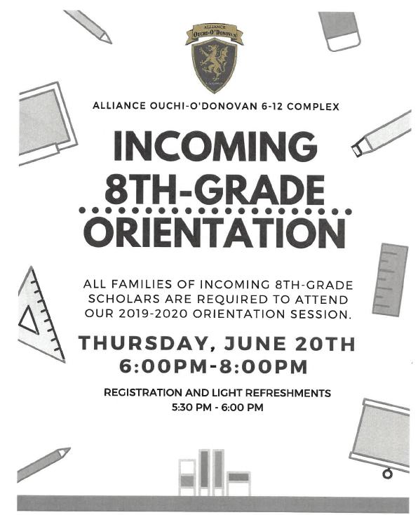 Incoming 8th Grade Orientations/Orientaciones entrantes de 8º grado Thumbnail Image