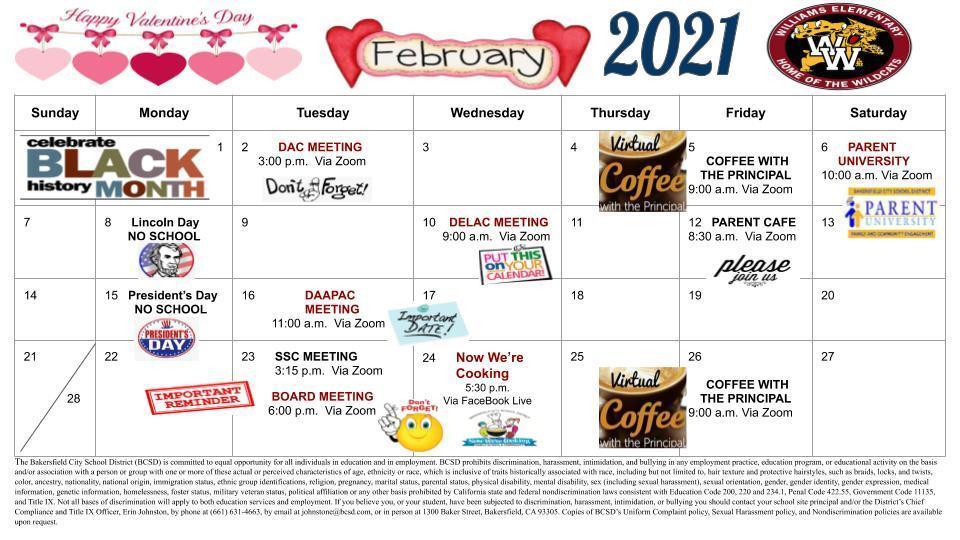 Feb. Calendar English