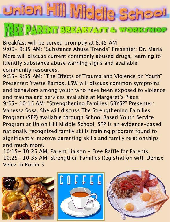 parent breakfast workshop on 10/26 english