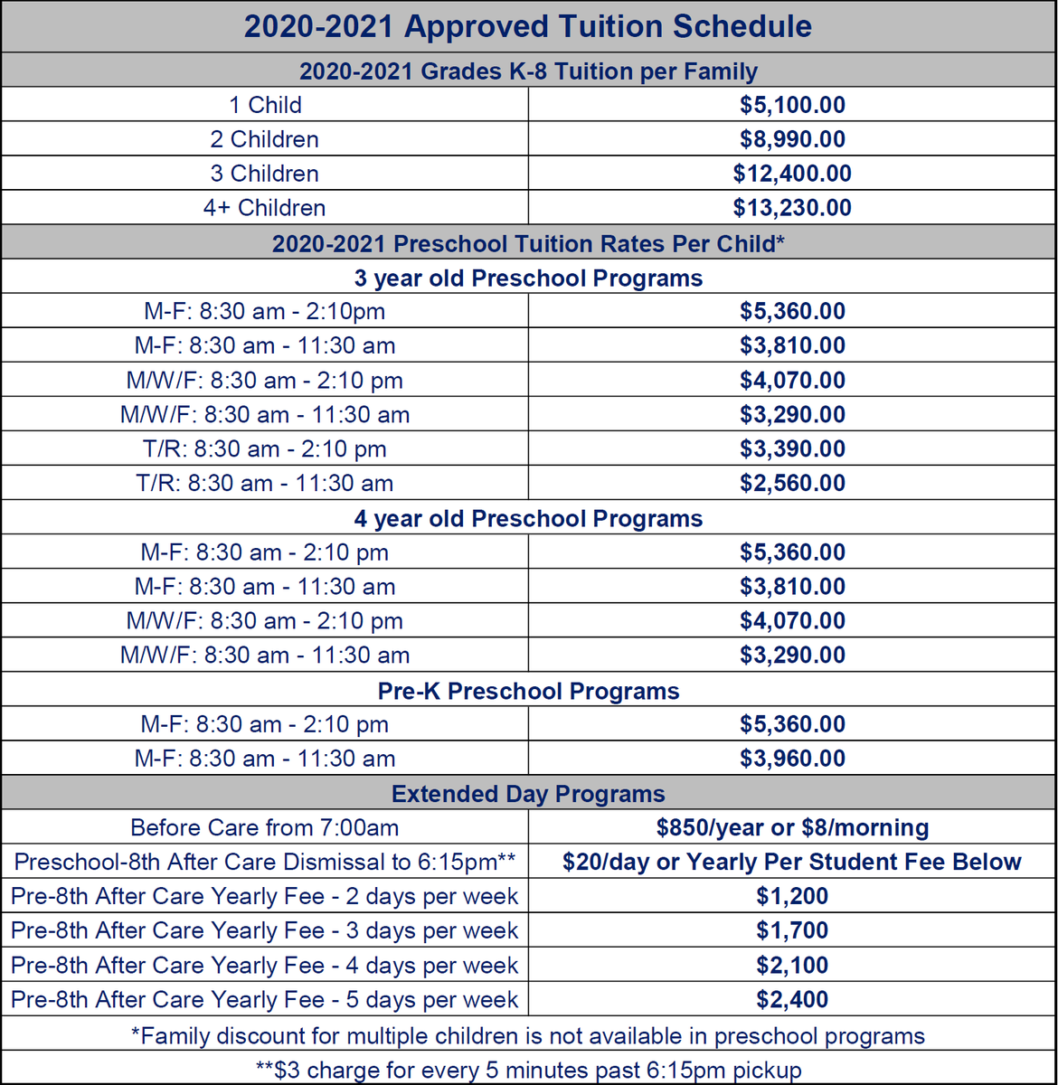 2020-2021 Tuition Schedule
