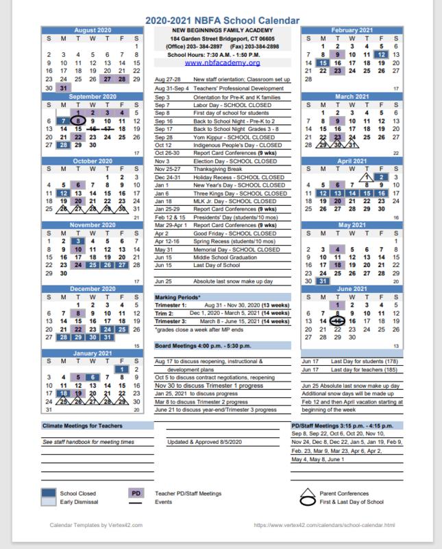 2020-2021 NBFA school calendar Featured Photo