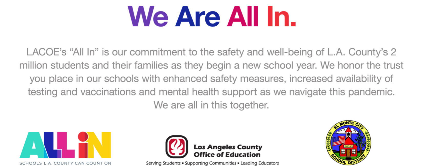 Graphic that reads: We are all in. LACOE's