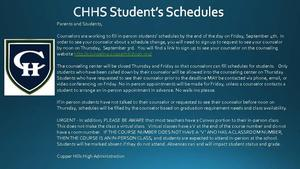 CHHS Student's Schedules Updated 9-3-20