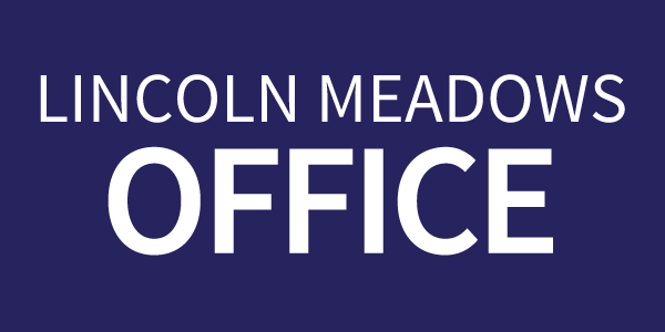 Lincoln Meadows Front Office text on a dark blue rectangle button