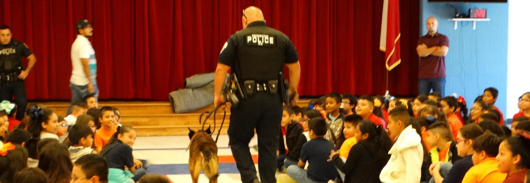 3rd and 4th graders at the Police Department presentation for Red Ribbon Week