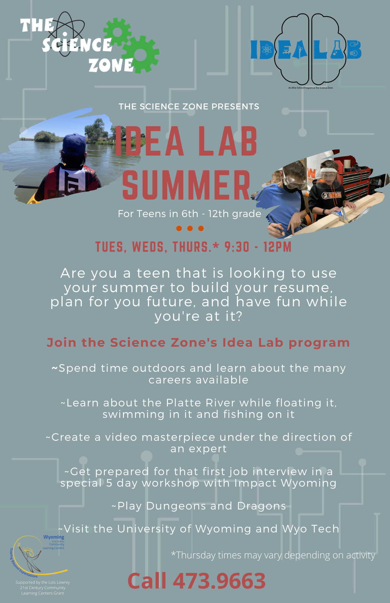 Science Zone Idea Lab Summer program flyer