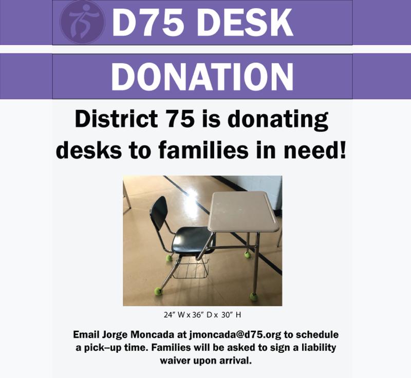 D75 Desk Donations Graphic