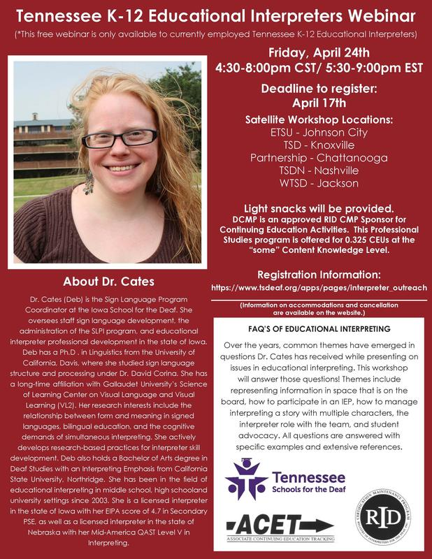 Tennessee K-12 Educational Interpreters Webinar 4-24-2020 Flyer
