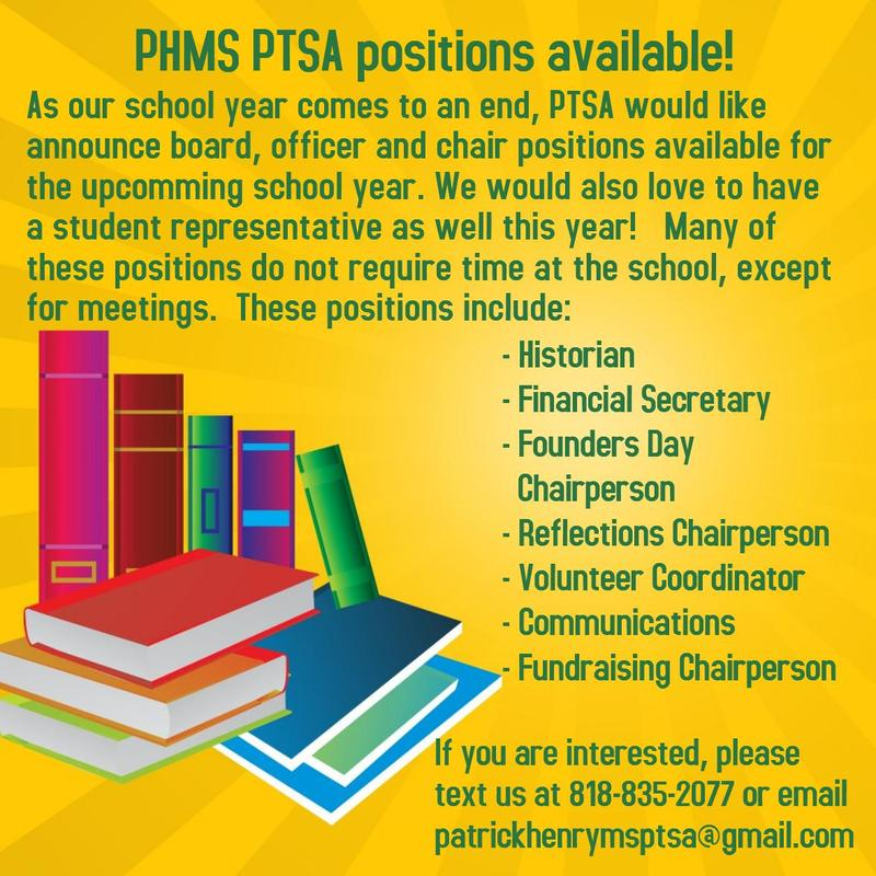 PTSA  Positions for 2017-2018 Featured Photo