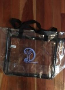 clear bag with logo