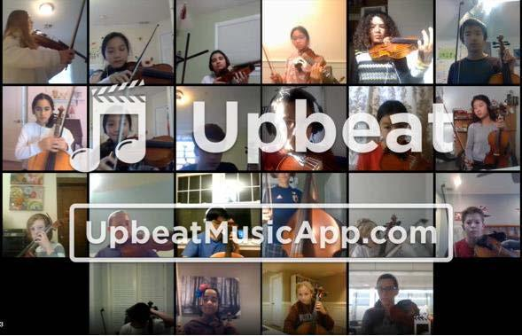 Photo of music students using Upbeat App to perform virtually together.