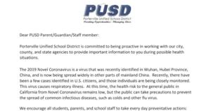 Section of Parent Letter- Coronavirus