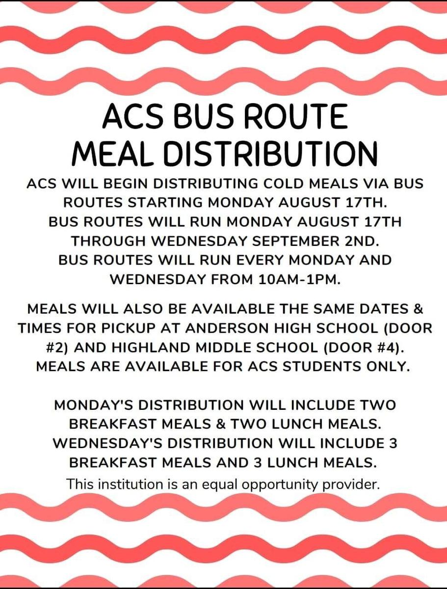 ACS Bus Route Meal Distribution beginning August 17, 2020