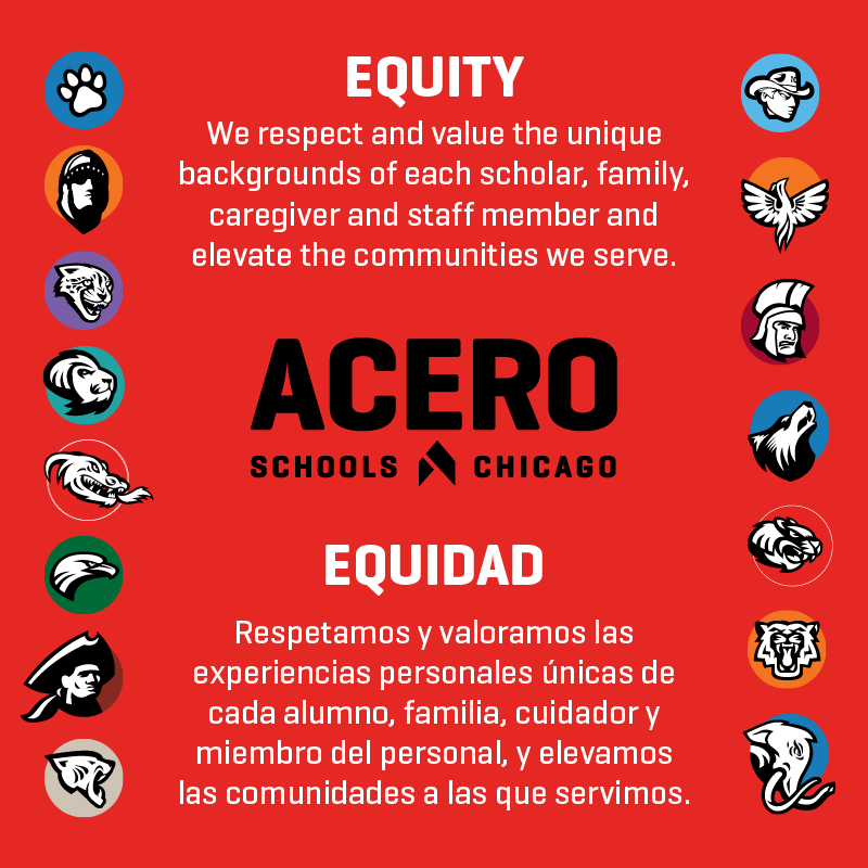 All school logos and Equity Statement: We respect and value the unique backgrounds of each scholar, family, caregiver and staff member and elevate the communities we serve.