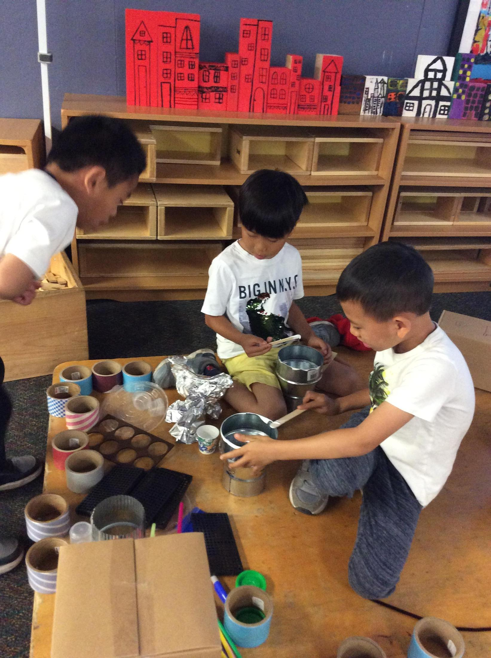 Children were working collaboratively in creating their wobble bots.s