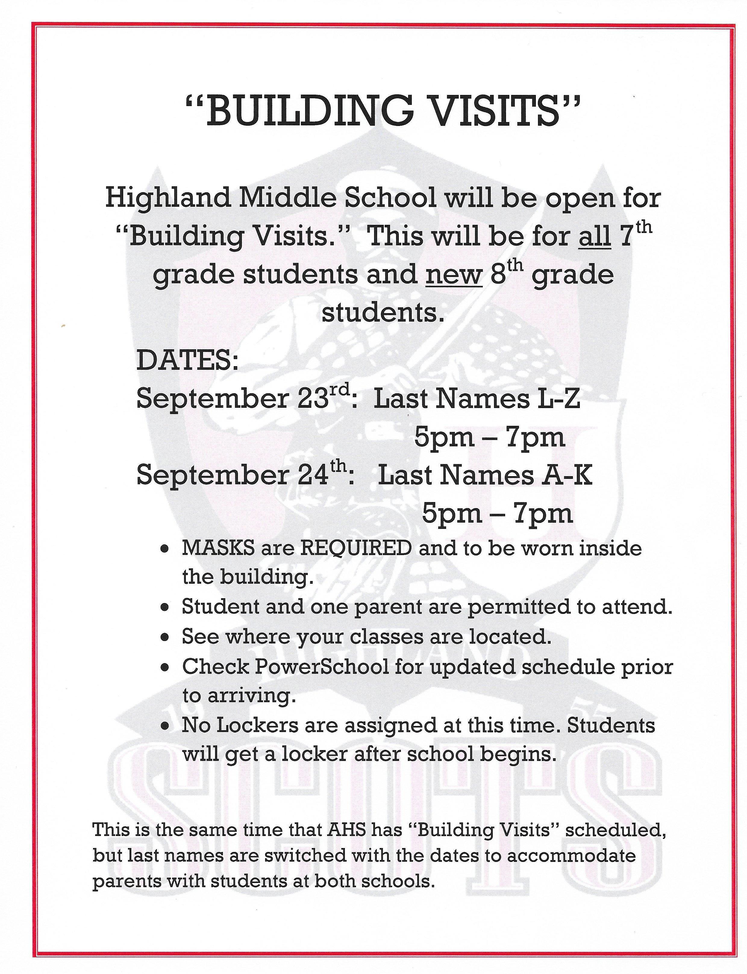 HMS Building Visits