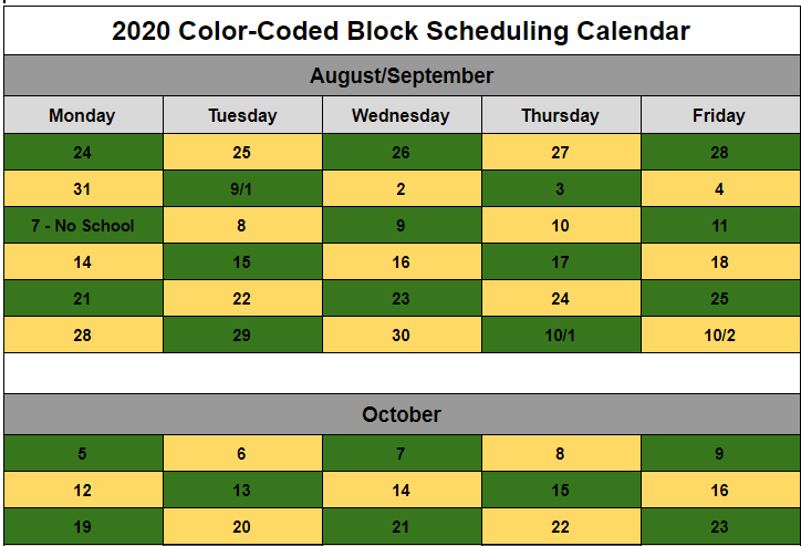 Daily Green & Gold Schedule