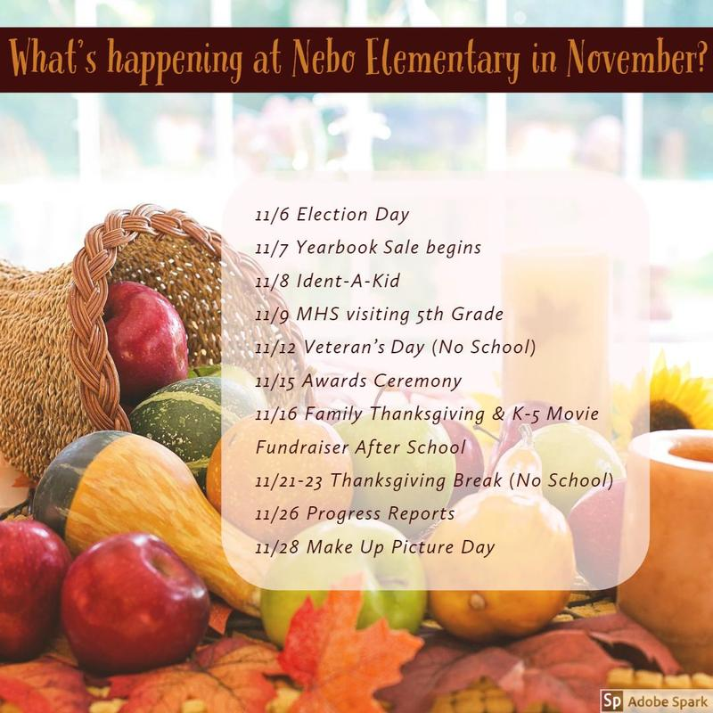 November events with pumpkins and cornucopia