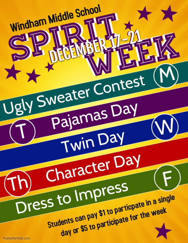 WMS Spirit Week from December 17th-21st! Thumbnail Image