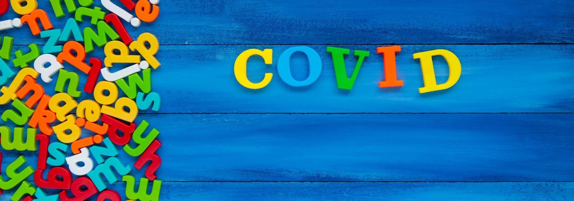 colorful letters spell COVID