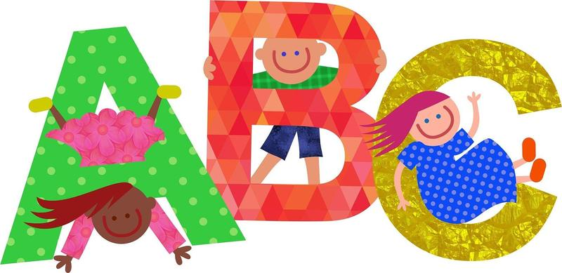 Graphic with ABC in bright colors