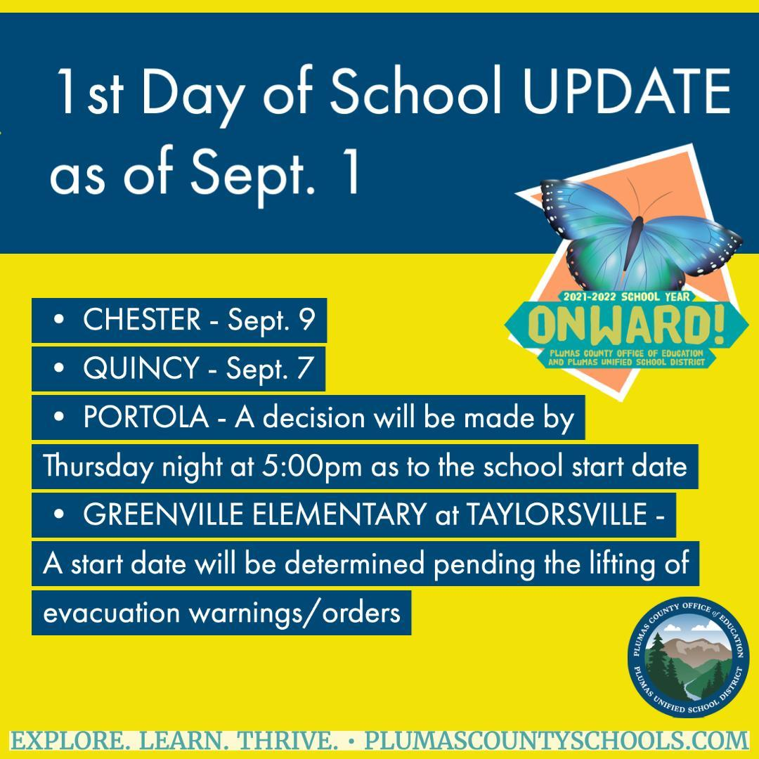 1st day of school update sept 1 2021