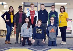 Members of Mars Area Middle School MathCounts Team (back row, from left) Mitzi Knapp (advisor), Vivek Dadi, Cooper Courson, Adam Rohrbaugh, Derek Piatek, Melissa Ola (advisor), (front row) Jaya Kaleida, Teo Biaggini and Carson Mahan, competed in the 2020 MathCounts Midwestern Pennsylvania Chapter Regional Competition.