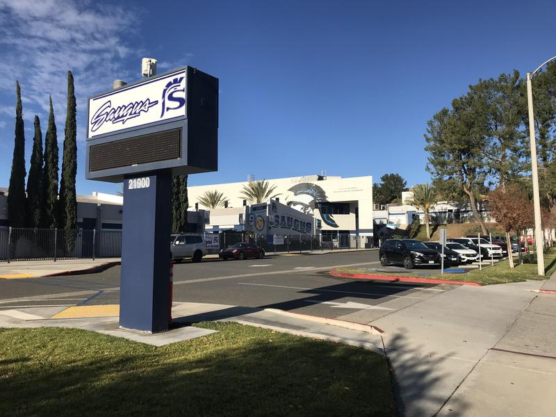 Exterior of Saugus High School with marquee in the foreground