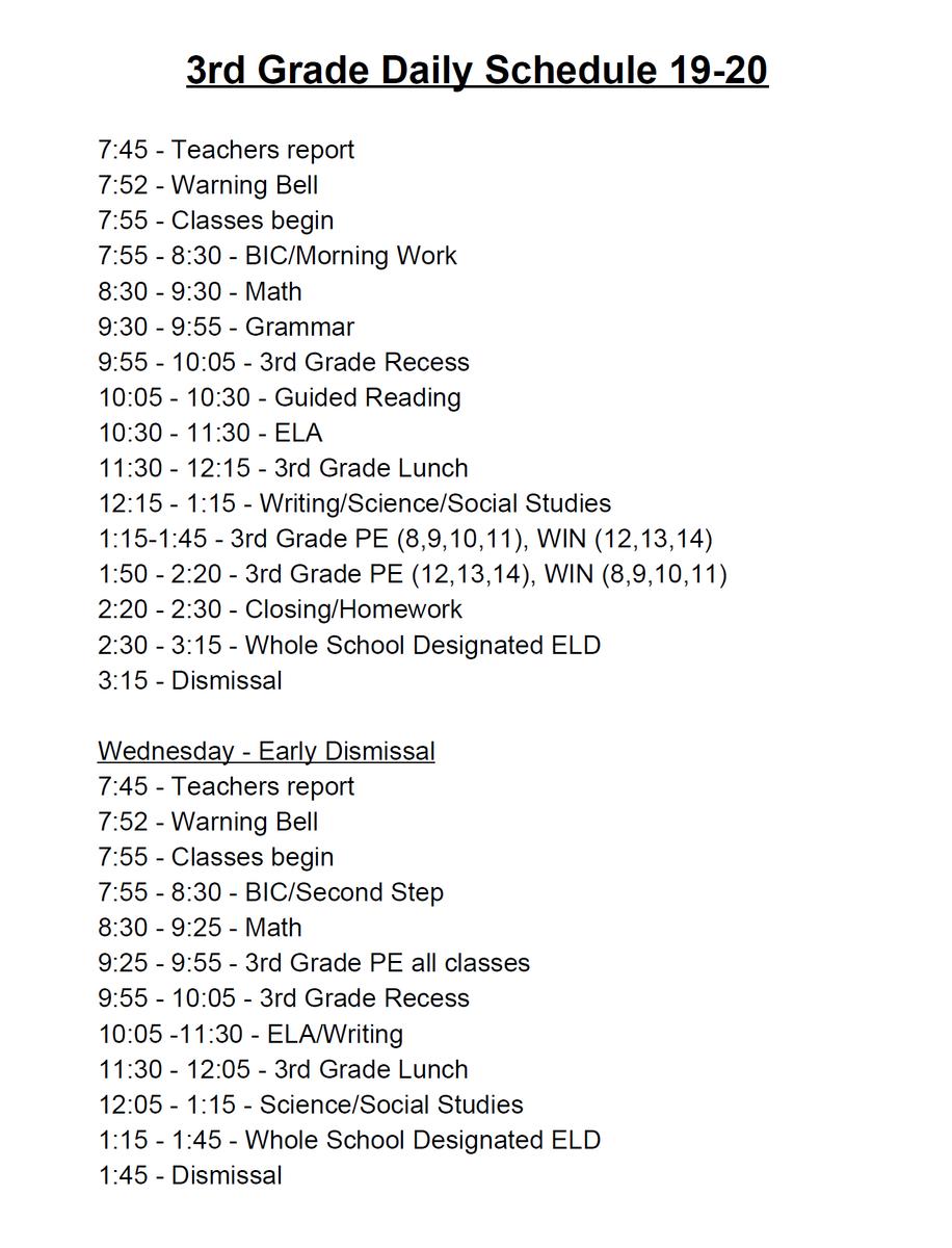 3rd grade Schedule